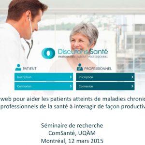 Discutons Santé. Un site web pour améliorer l'efficacité des rencontres entre patients et professionnels de la santé