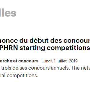 FR/EN: Annonce du début des concours du RRSPQ / QPHRN starting competitions 2019