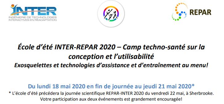 École d'été 2020 : Camp techno-santé sur la conception et l'utilisabilité des technologies en réadaptation