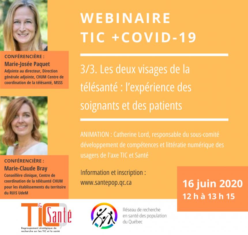 TIC + COVID-19 – Les deux visages de la télésanté : l'expérience des soignants et des patients