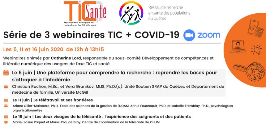 TIC + COVID-19 : une série de 3 midi-webinaires