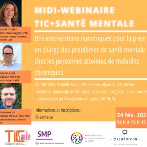 TIC + Santé mentale: des interventions numériques dans la prise en charge des problèmes de santé mentale chez les personnes atteintes de maladies chroniques