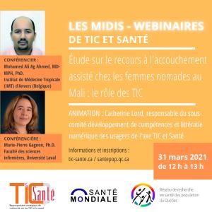 TIC + Santé mondiale | Recours à l'accouchement assisté chez les femmes nomades au Mali : le rôle des TIC